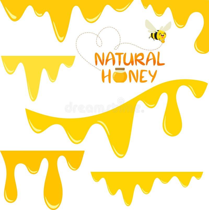 Un sistema de miel que fluye Sistema de la abeja El vector a?sla en un fondo blanco libre illustration