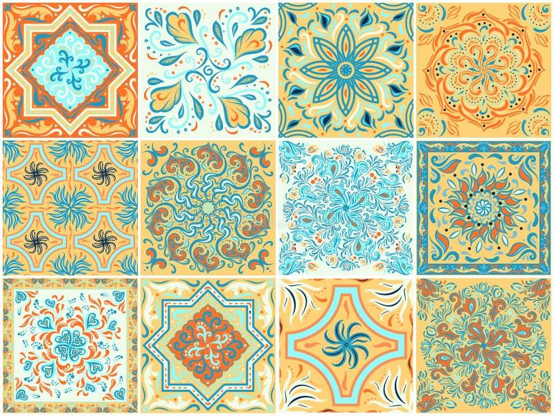 Un sistema de modelos cuadrados en estilo étnico ilustración del vector
