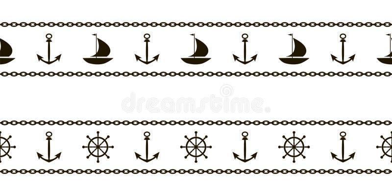 Un sistema de modelos marinos con las naves, las anclas, los volantes y las cadenas para la cinta y el ribete Vector stock de ilustración