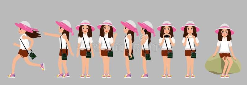Un sistema de muchachas en un sombrero con un arco, una camisa transparente, pantalones cortos anaranjados y zapatillas de deport ilustración del vector