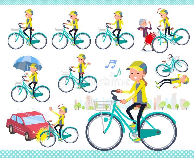 Un sistema de mujeres en la ropa de deportes que monta un ciclo de la ciudad  Él arte del vector del ` s así que él ` s fácil cor libre illustration