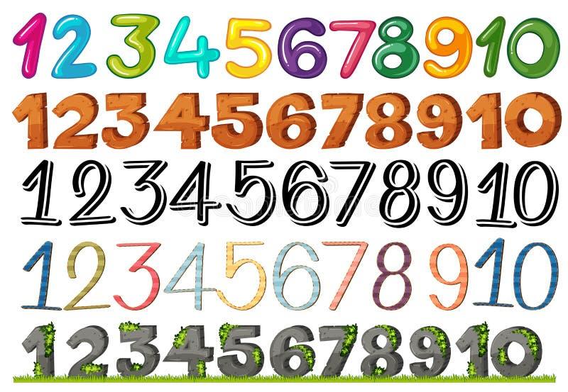 Un sistema de números y de fuentes ilustración del vector