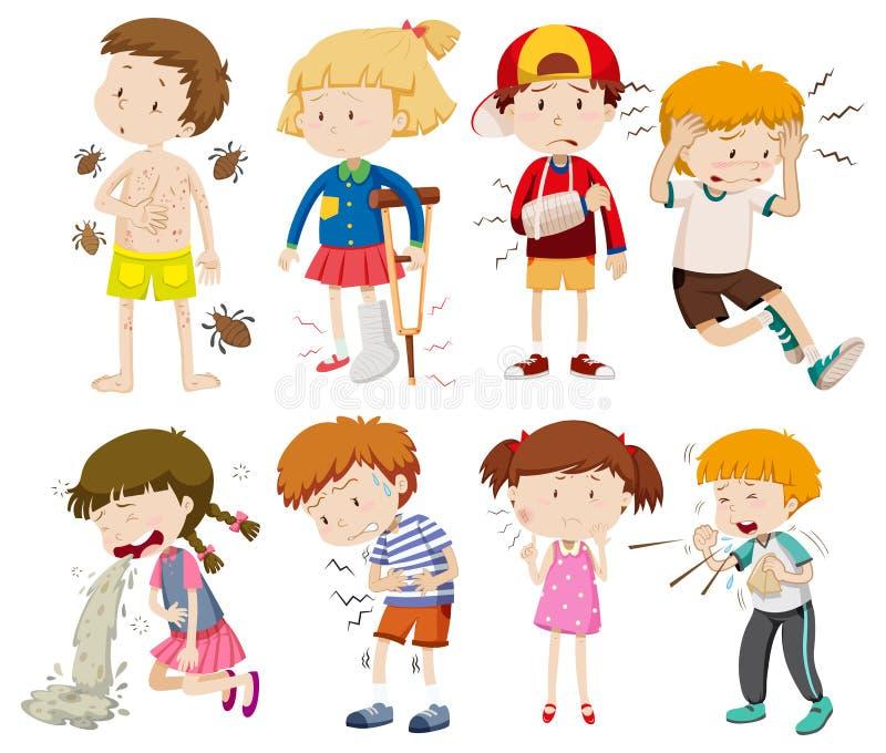 Un sistema de niños enfermos ilustración del vector