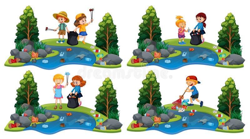 Un sistema de niños que limpian el río ilustración del vector