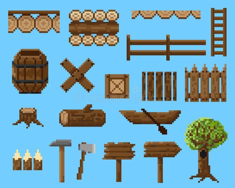 Un sistema de objetos del pixel y de elementos inconsútiles hechos de la madera ilustración del vector