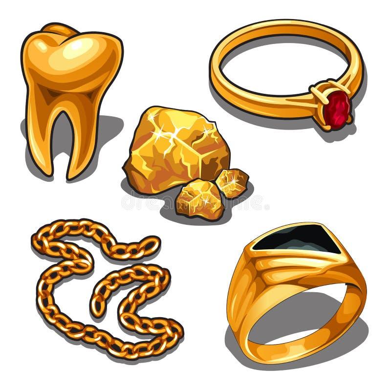 Un sistema de objetos de la joyería y de la odontología hechos del oro aislado en un fondo blanco Ilustración del vector ilustración del vector