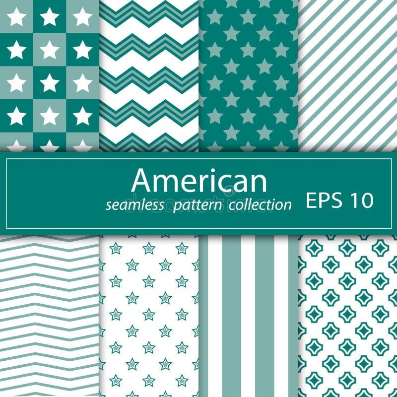 Un sistema de ocho pinturas Tema náutico de la tela inconsútil Fondo azul del ornamento Temas americanos libre illustration