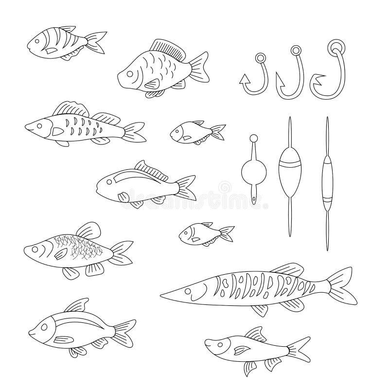 Un sistema de pescados lindos con las artes de pesca en un estilo linear ilustración del vector