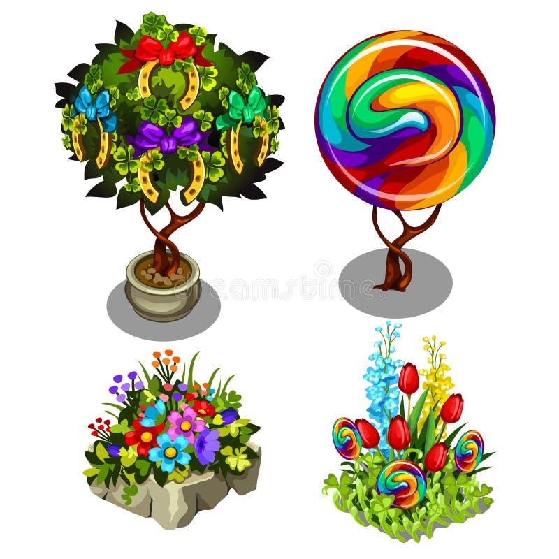 Un sistema de plantas brillantes y de flores adornadas aisladas en el fondo blanco Topiary y bonsais multicolores Vector ilustración del vector