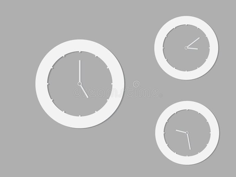 Un sistema de relojes redondos blancos y negros con los momentos diferentes para el logotipo y el icono stock de ilustración