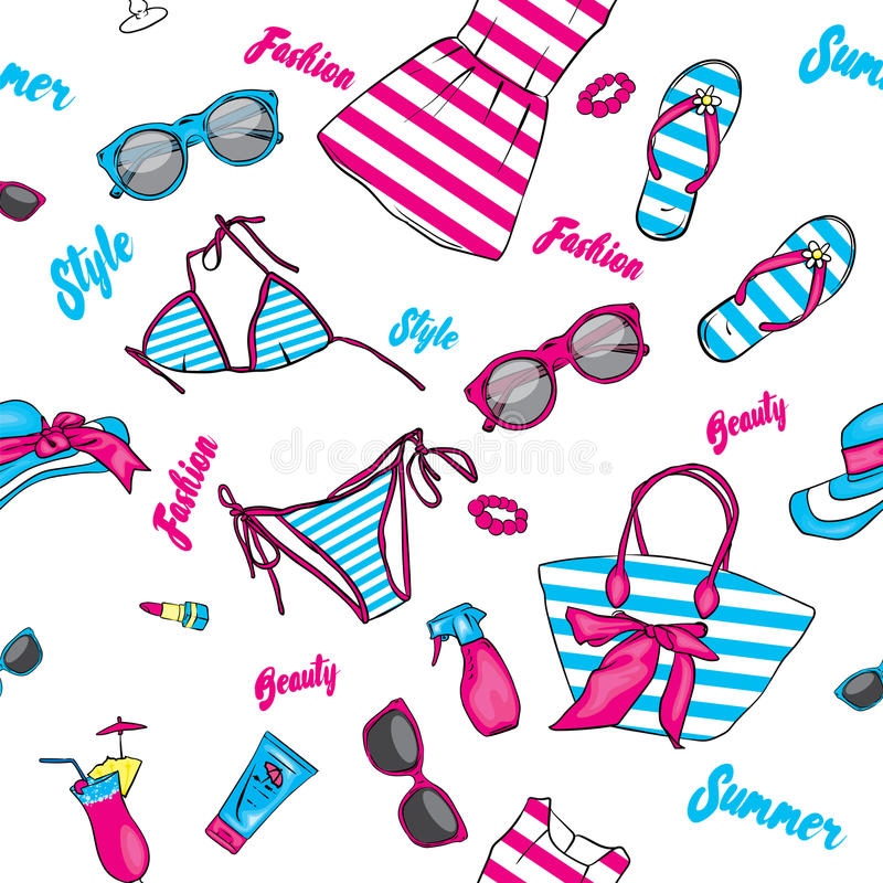 Un sistema de ropa y de accesorios del verano Vare el bolso, el sombrero, las chancletas, el vestido, el traje de baño, el cóctel stock de ilustración