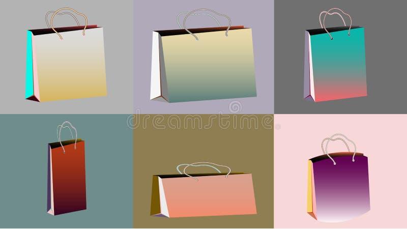 Un sistema de seis bolsas de papel a granel realistas de la pendiente multicolora para las compras de diversos formas y tamaños c ilustración del vector