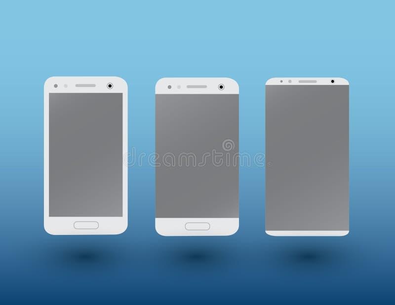 Un sistema de smartphones modernos de la pantalla táctil del color blanco en fondo azul marino con el ejemplo del vector de la so libre illustration