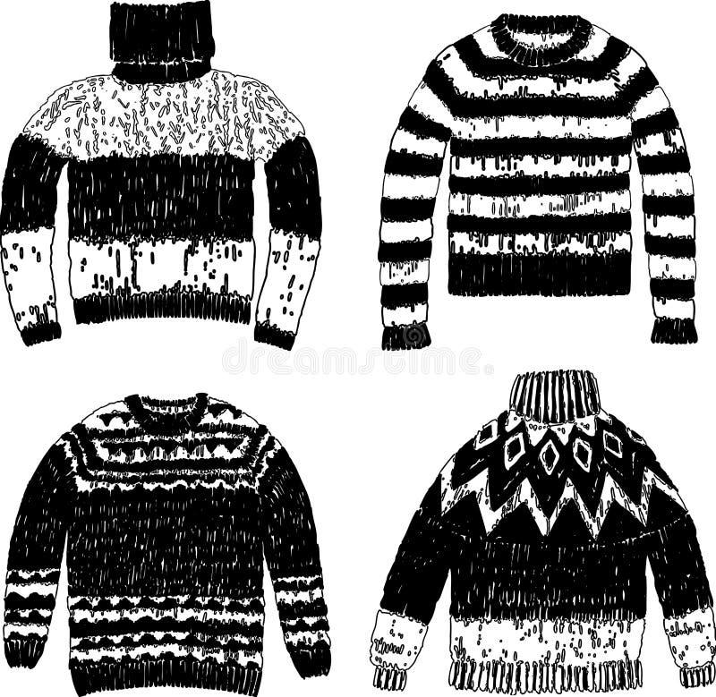 Un sistema de suéteres hechos punto calientes ilustración del vector