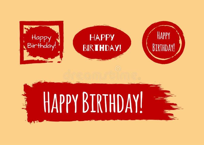 ¡Un sistema de texturas del grunge con feliz cumpleaños del texto! Fondo pintado con un cepillo libre illustration