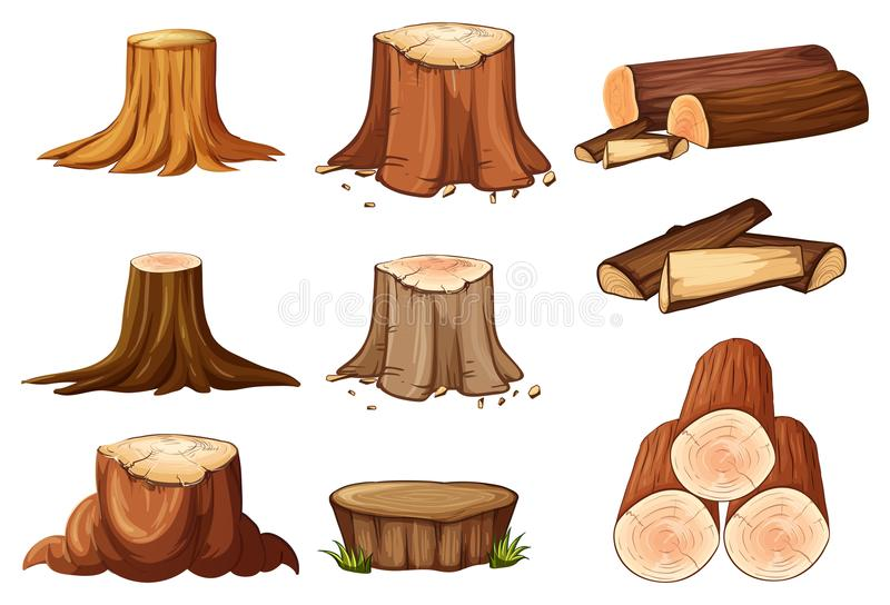 Un sistema de tocón y de madera de árbol stock de ilustración