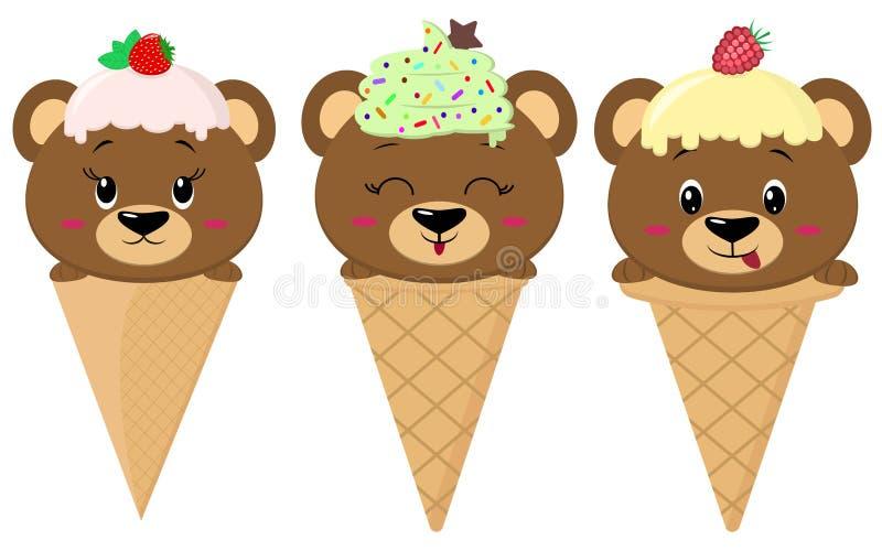 Un sistema de tres osos marrones en la imagen de un helado libre illustration