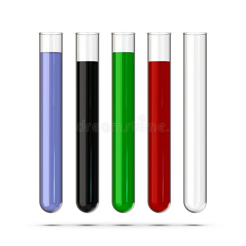 Un sistema de tubos de ensayo con los líquidos en el fondo blanco representación 3d libre illustration