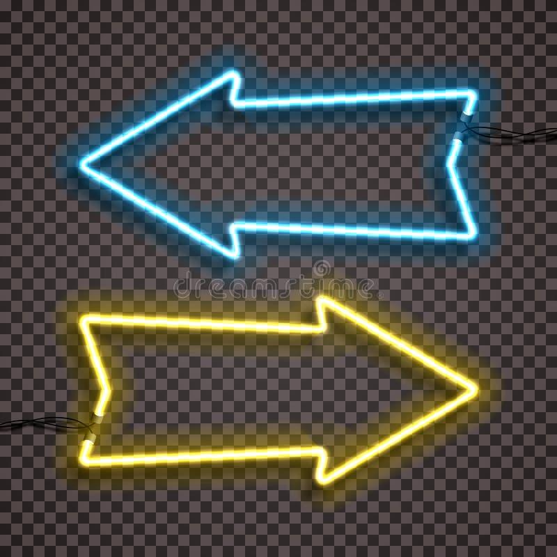Un sistema de variantes bicolores de las lámparas de neón con los alambres, indicador de flecha formado Versión azul y amarilla libre illustration