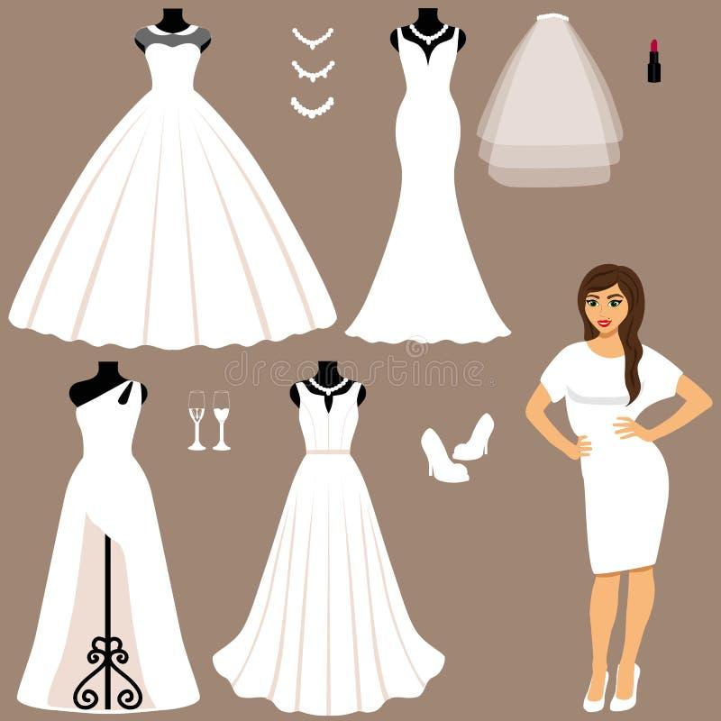 Un Sistema De Vestidos De Boda Ilustración Del Vector