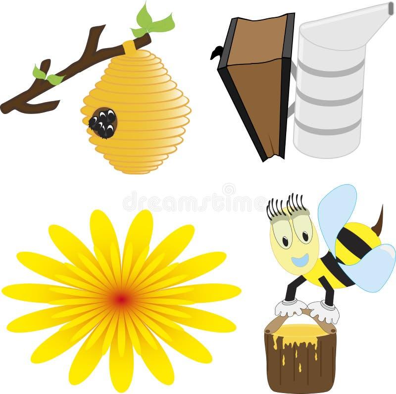 Un sistema del ejemplo del vector de la abeja de la miel relacionó iconos como abeja feliz de la miel libre illustration