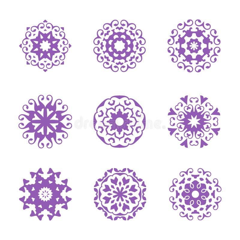 Un sistema del ornamento del círculo, floral abstracto stock de ilustración
