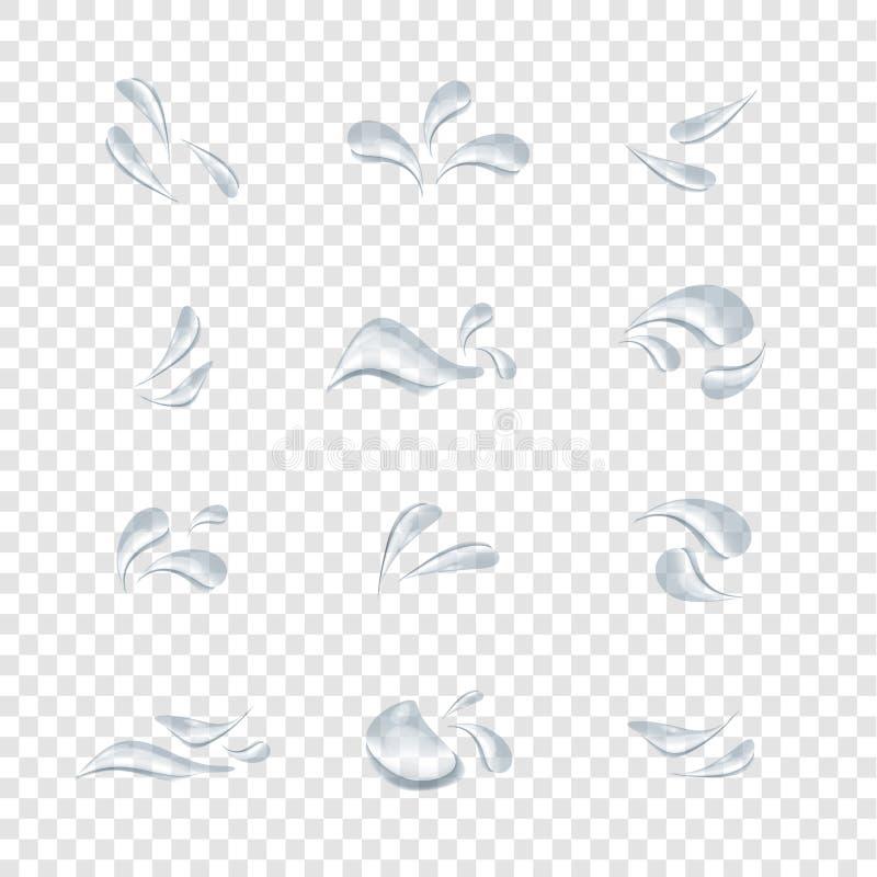 Un sistema del vector realista de los descensos del agua aislado en fondo de la transparencia, la burbuja de cristal o el chapote ilustración del vector