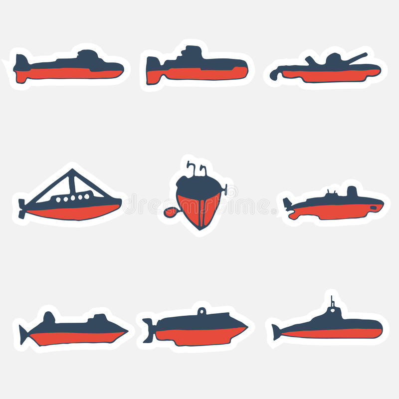 Un sistema dibujado mano de submarinos de las trayectorias Ilustración del vector stock de ilustración