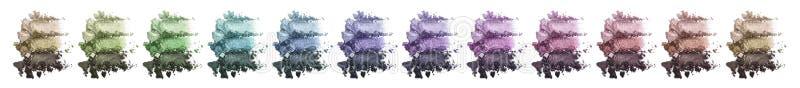 Un sistema enorme de sombra de ojos triple multicolora Sombreador de ojos machacado imagenes de archivo