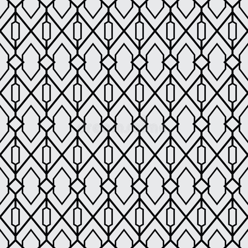 Un sistema geométrico de inconsútil blanco y negro Estilo del modelo inconsútil del formato del vector nuevo stock de ilustración
