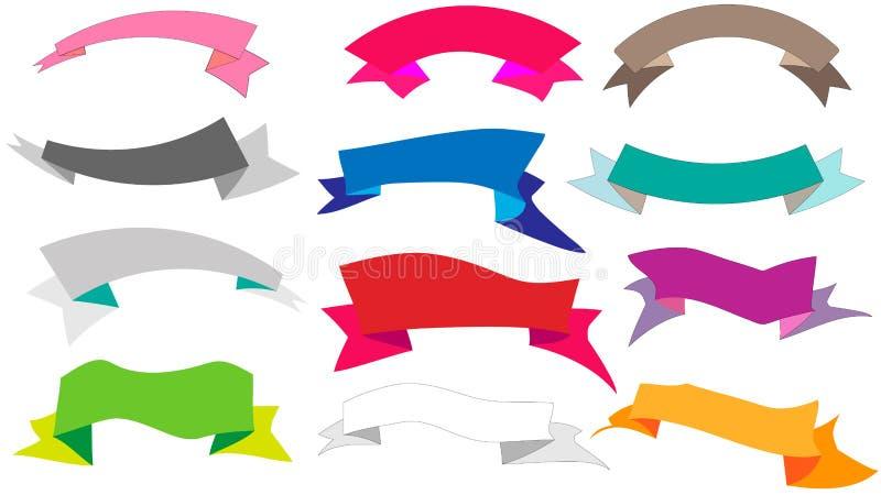 Un sistema grande de diversas cintas coloreadas de diversas formas una imagen de un vector del billete ilustración del vector