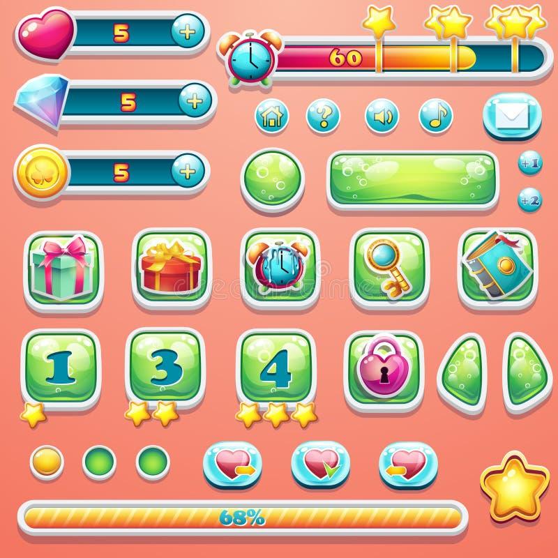 Un sistema grande de las barras de progreso, botones, aumentadores de presión, iconos para el usuario ilustración del vector
