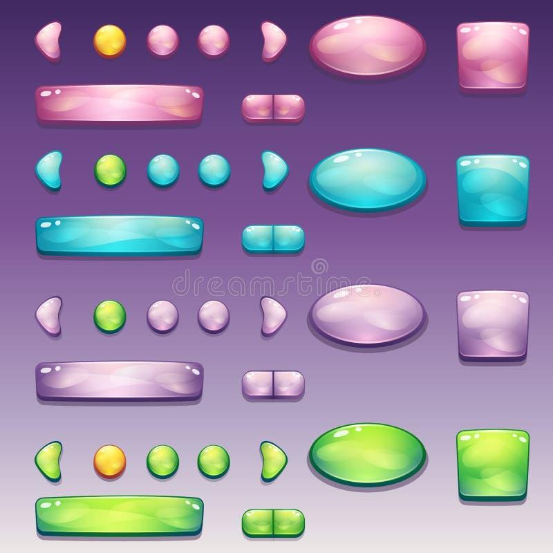 Un sistema grande de los botones atractivos de diversas formas para la interfaz de usuario y el diseño web ilustración del vector