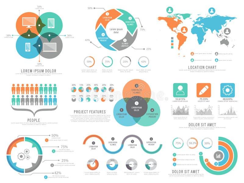 Un sistema grande de los elementos infographic estadísticos para el negocio libre illustration