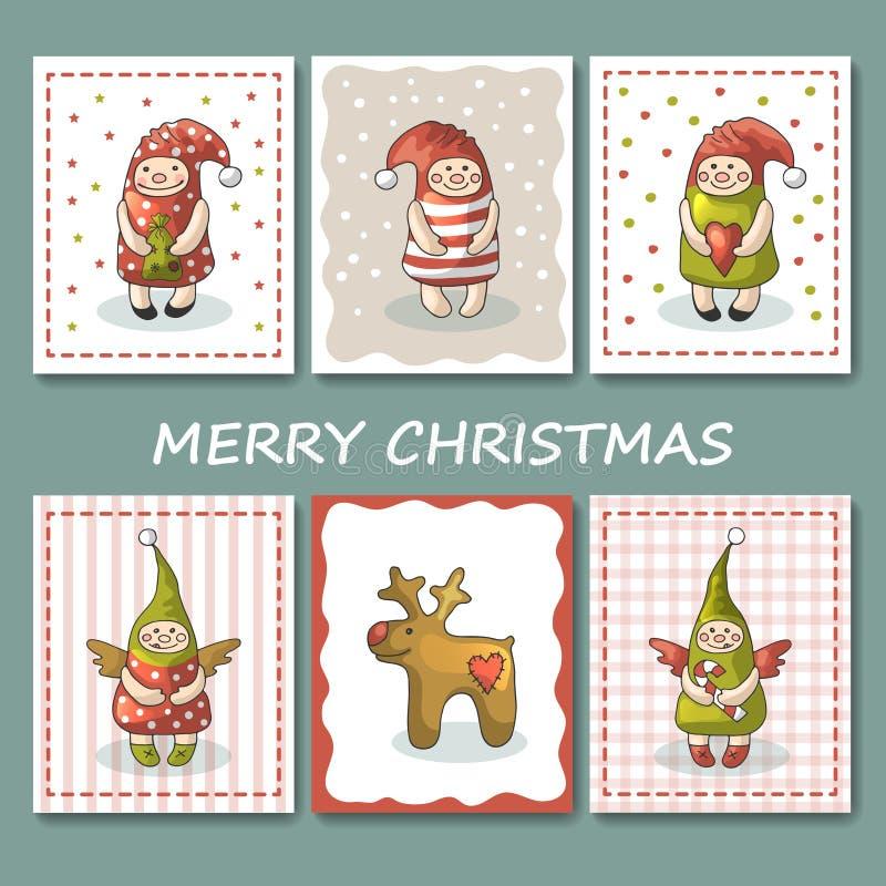 Un sistema grande de tarjetas de Navidad con gnomos Ilustración del vector ilustración del vector