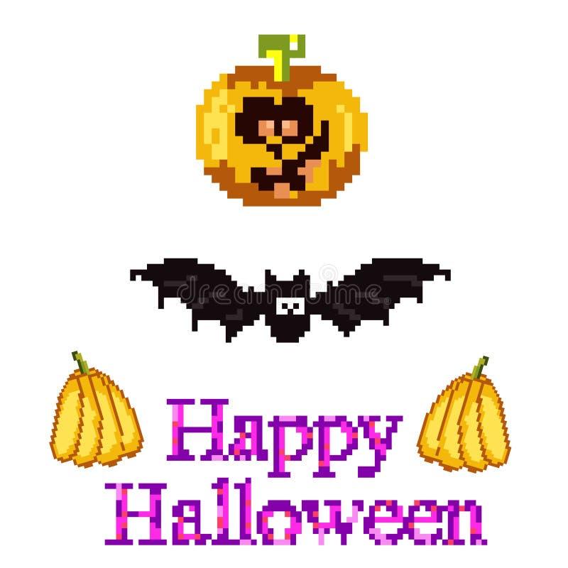 Un sistema para Halloween en arte del pixel del estilo - una calabaza, un palo libre illustration