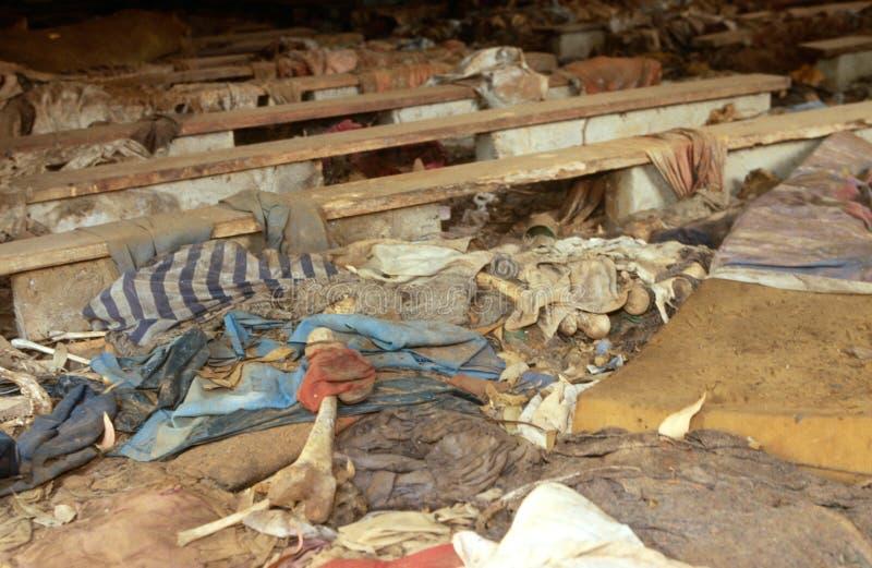 Un sito di genocidio ruandese. fotografie stock libere da diritti