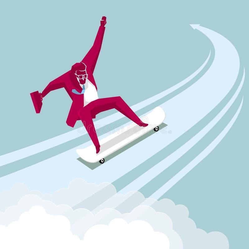 Un skateboarding dell'uomo d'affari royalty illustrazione gratis