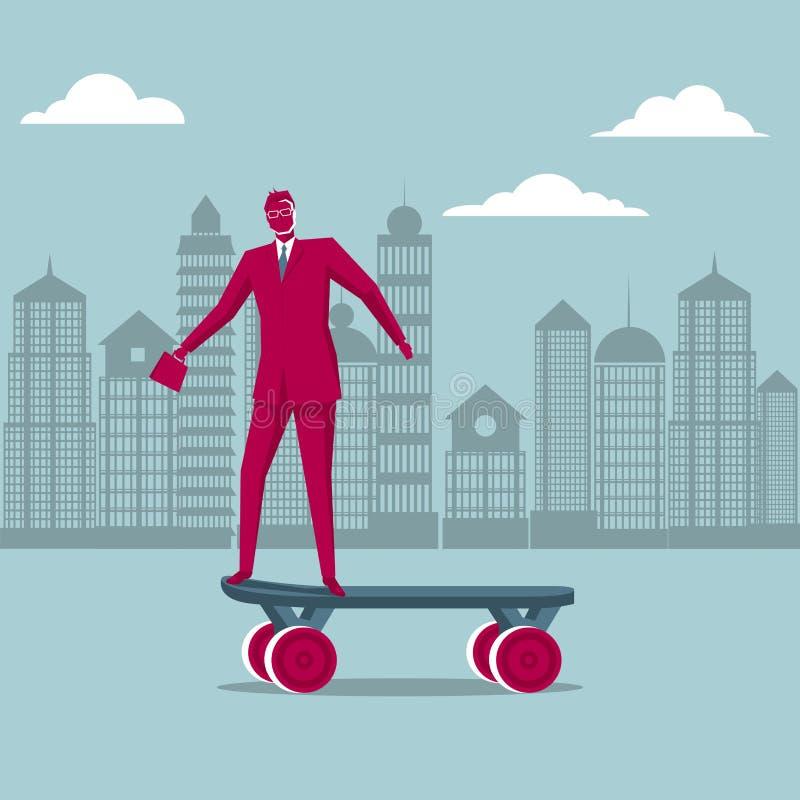Un skateboarding dell'uomo d'affari illustrazione vettoriale