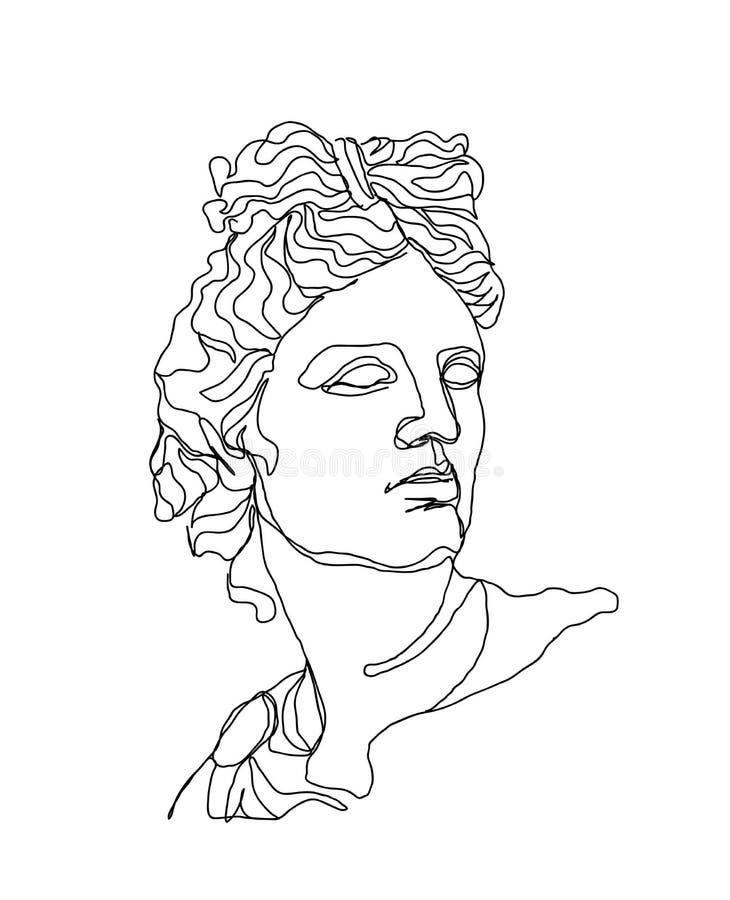 Un skech del disegno a tratteggio Scultura di Apollo Singola linea arte moderna, contorno estetico Perfezioni per la decorazione  illustrazione di stock