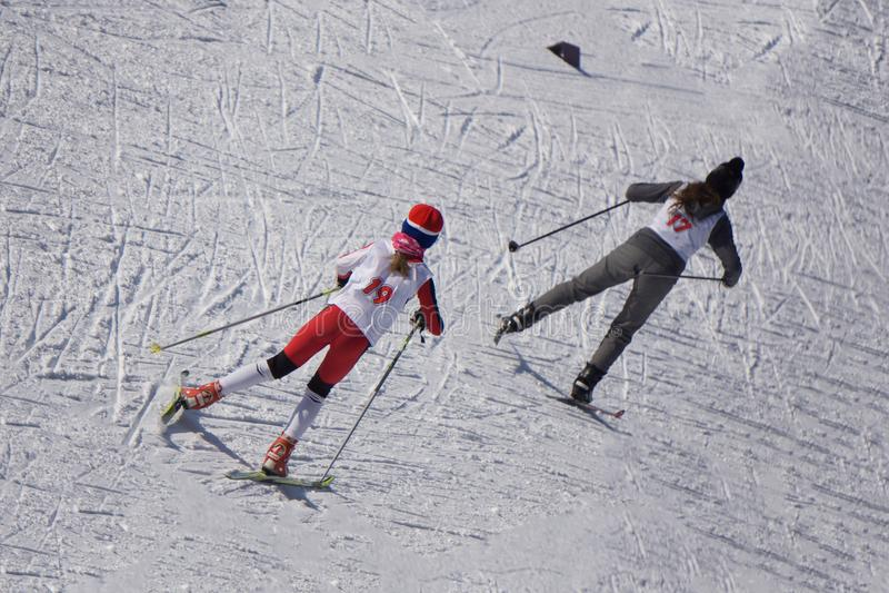 Un skieur dans une veste vert clair court une distance dans la forêt photographie stock libre de droits