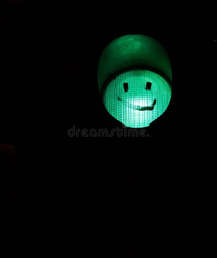 Smiley verde del semáforo imagenes de archivo
