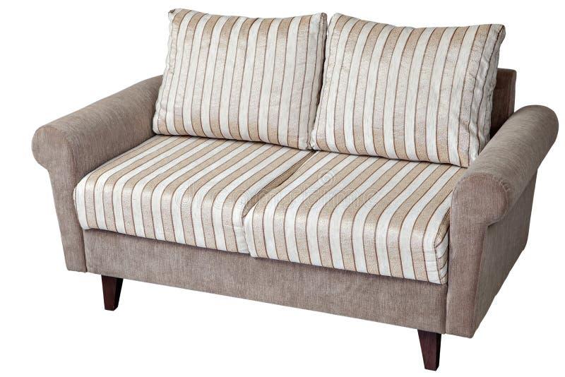 un sofà di 2 seater ricoperto in tessuto a strisce, isolato su bianco fotografia stock libera da diritti