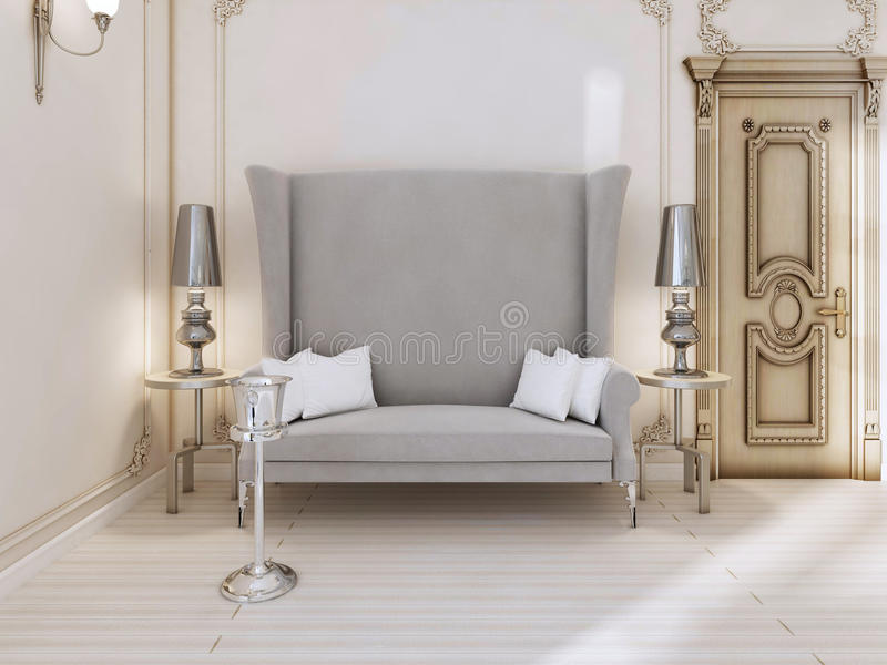 Un sofa classique de concepteur avec un dos de haute dans la chambre à coucher illustration stock