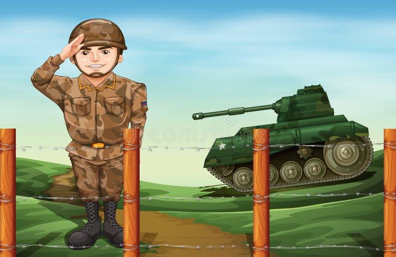 Un soldat faisant un salut de main illustration stock