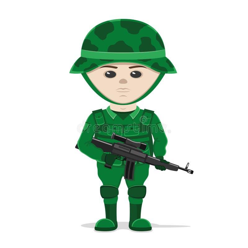 Un soldato con una pistola illustrazione di stock
