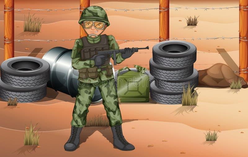 Un soldato coraggioso nel campo di battaglia illustrazione vettoriale
