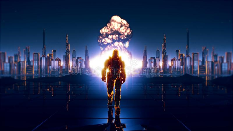 Un soldato futuristico sui precedenti della città futura fotografie stock