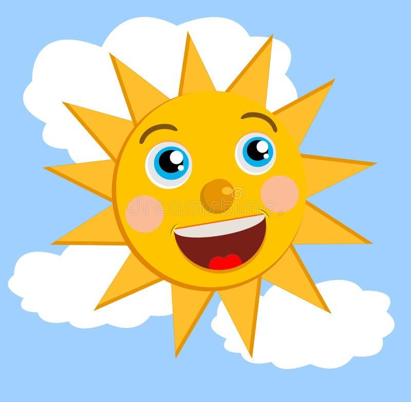 Un sole allegro su cielo blu illustrazione vettoriale