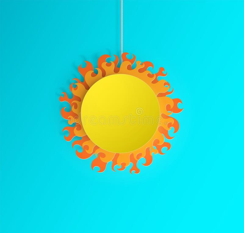 Un sole caldo di carta illustrazione di stock